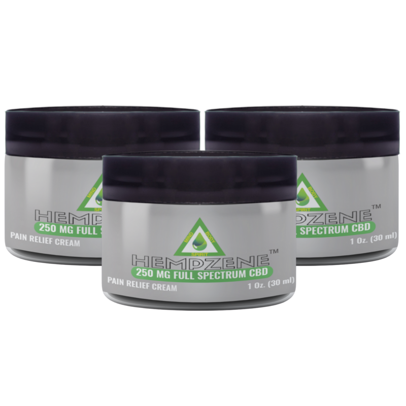 Hempzene CBD Relief Cream - 250 MG - 3 Jars