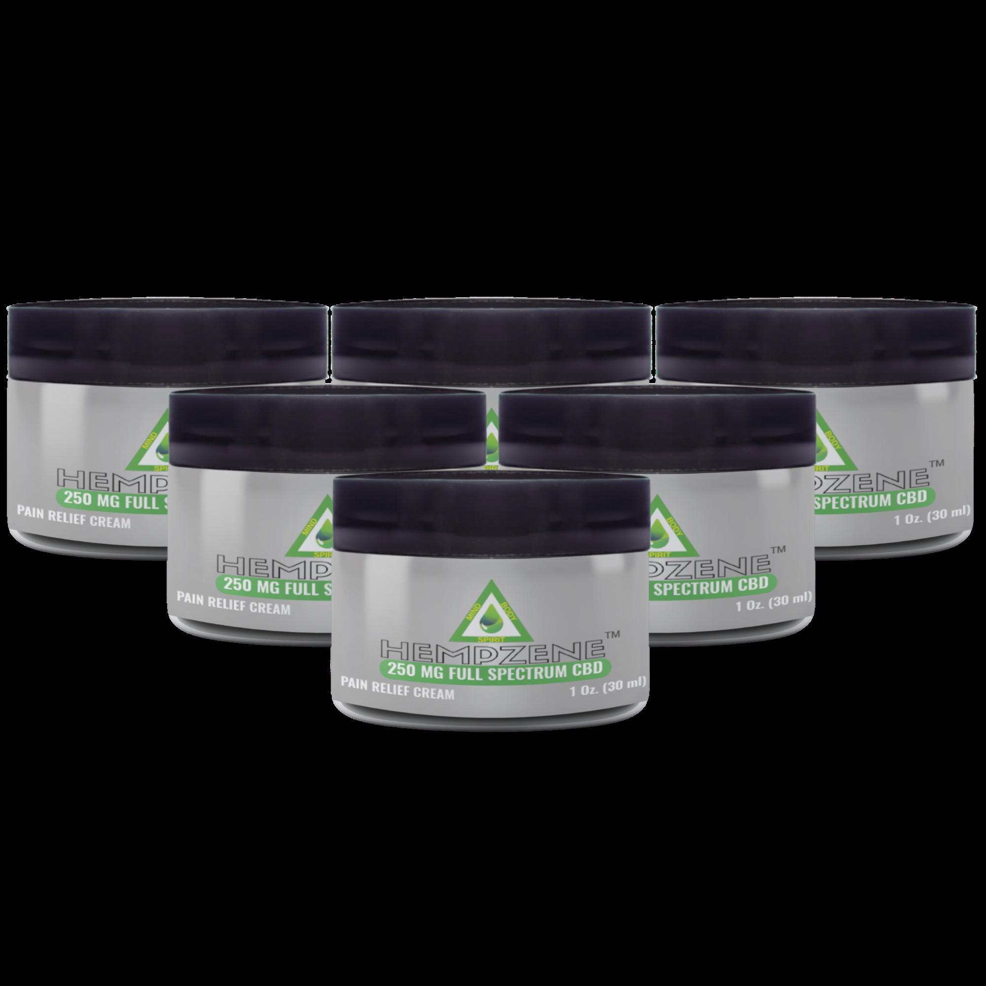Hempzene CBD Relief Cream - 250 MG - 6 Jars